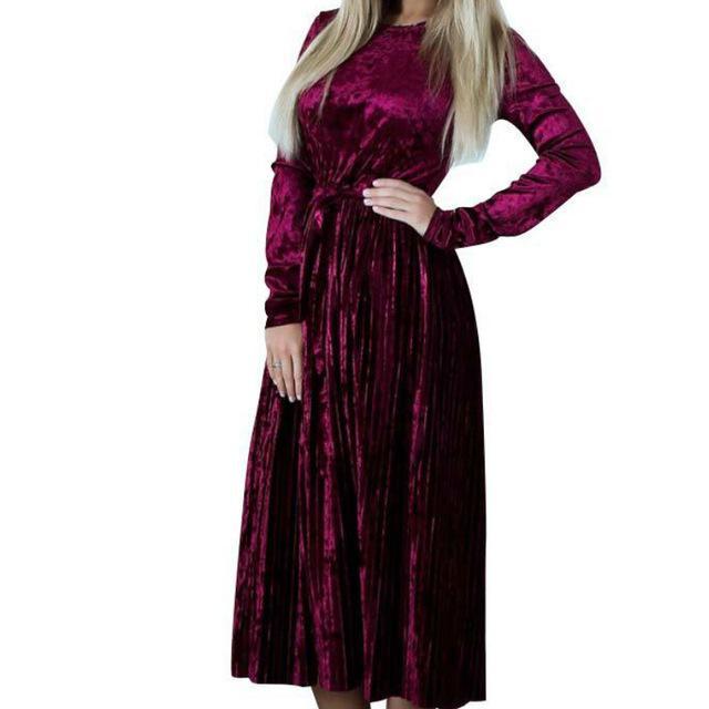 Fashion Pleated Velvet Dresses 2017 Elegant Women Party Dress Long Sleeve Winter Autumn Velour Dress Solid Vestido Mujer GV192