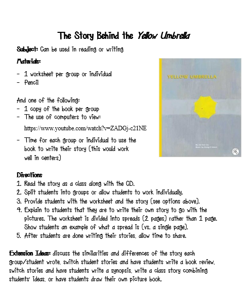 How To Review Book You Havent Read >> Worksheet To Match Yellow Umbrella If You Haven T Read This