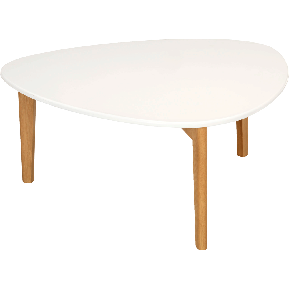 Table Basse Triangulaire Blanche Avec Pieds En Chene Siwa Tables Basses Alinea Living Room Furniture Furniture Home Decor