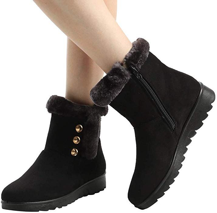 9289fb434a2f Amazon.com  Hemlock Women Snow Boots Winter Flat Workout Booties Mid Calf  Boots Ankle Boots Footwear Women Boots Ski Shoes  Clothing