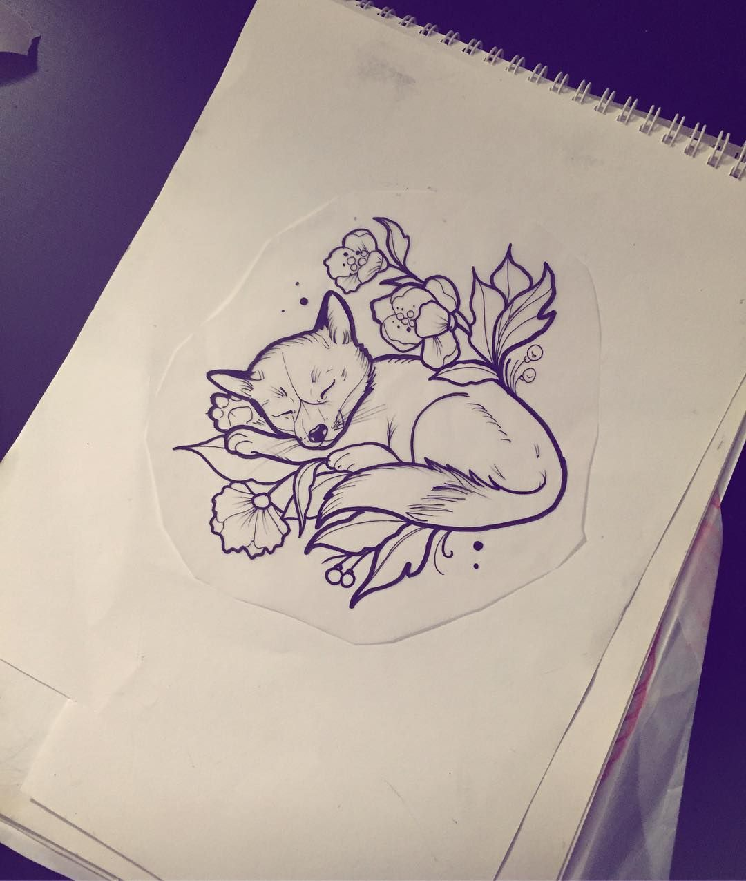 "Ann-Marie Instagram 🍕 👽🍹 🎨 auf Instagram: ""Für morgen 🦊❤ #tattoodesign #tattoo #ink #inked #fox #foxtattoo # friedatätowierungs #sketch #drawing #illustration # Outline…""   – Tattoos"