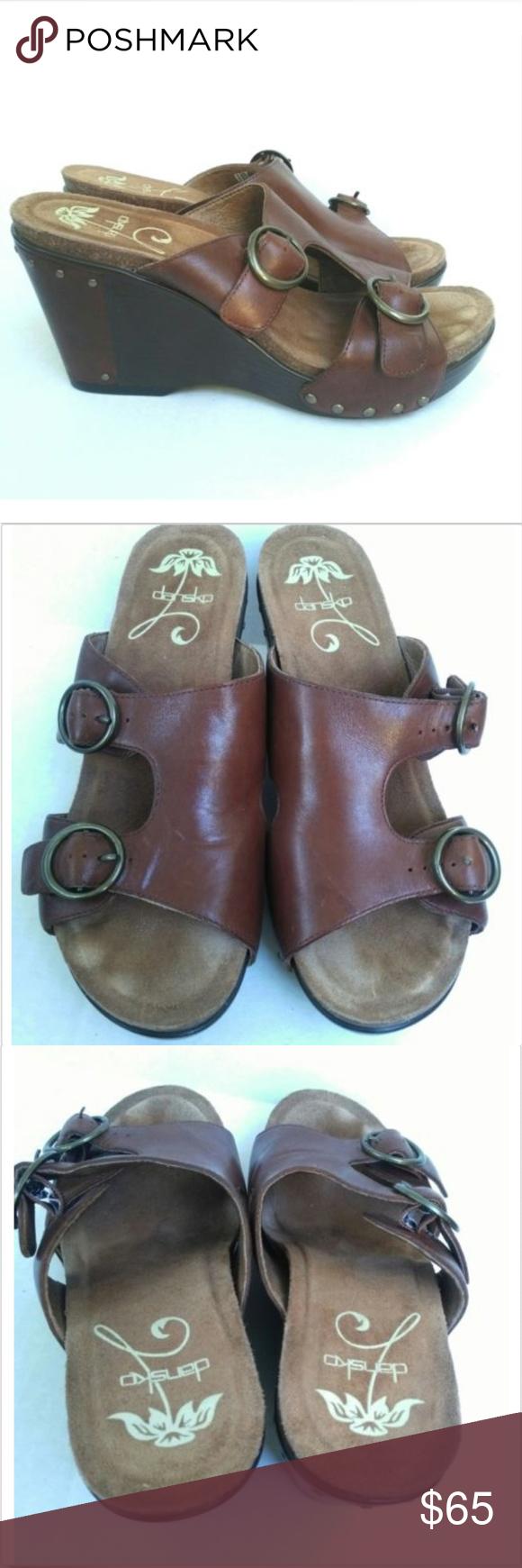 9420c7323af DANSKO Fern Antique Brandy Brown Leather Sandals DANSKO Womens Fern Antique  Brandy Brown Leather Wedge Sandals Sz 40 9.5-10 Good used condition.