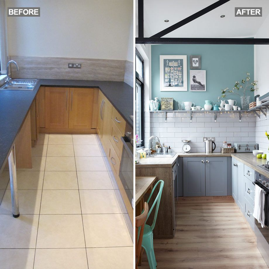 Budget kitchen makeover with grey cabinets, metro tiles and pale wood laminate worktops