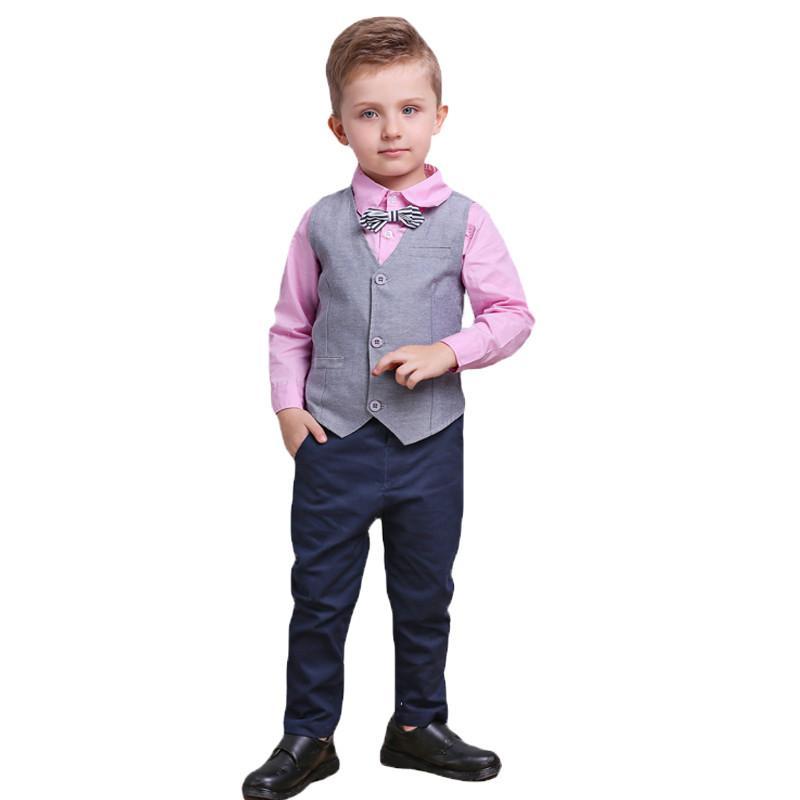 3pcs Toddler Baby Boys Denim Style Long Sleeve T-shirt+Pants+Vest Gentleman Set