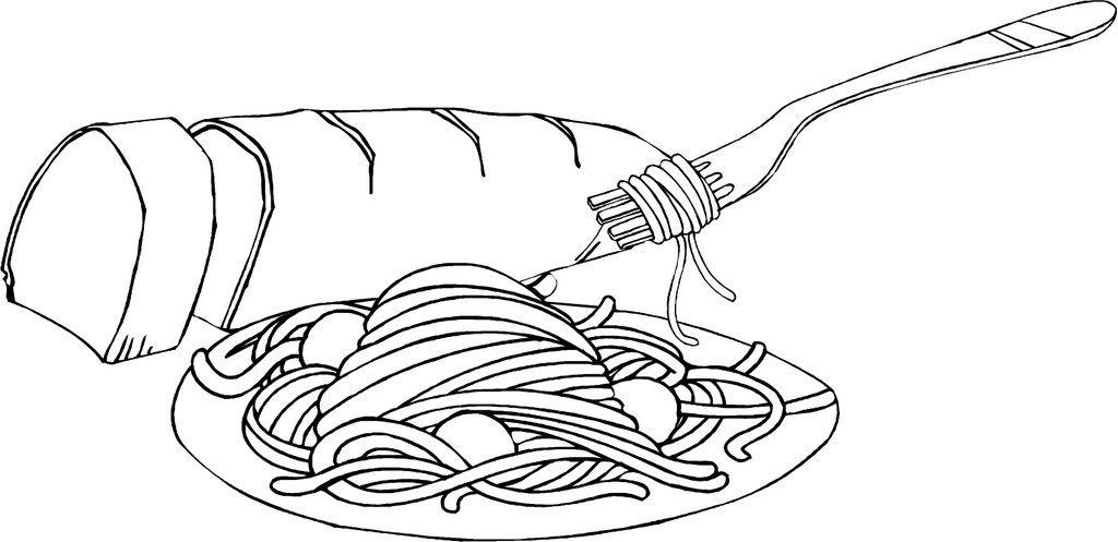 Spaghetti Pasta And Bread Coloring Picture Ilustraciones Dibujos Imprimir Sobres
