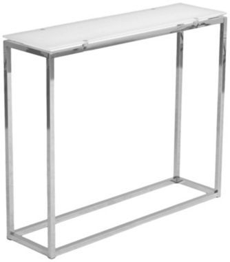 sandor pure white glass chrome steel 36inchw console table - Skinny Console Table