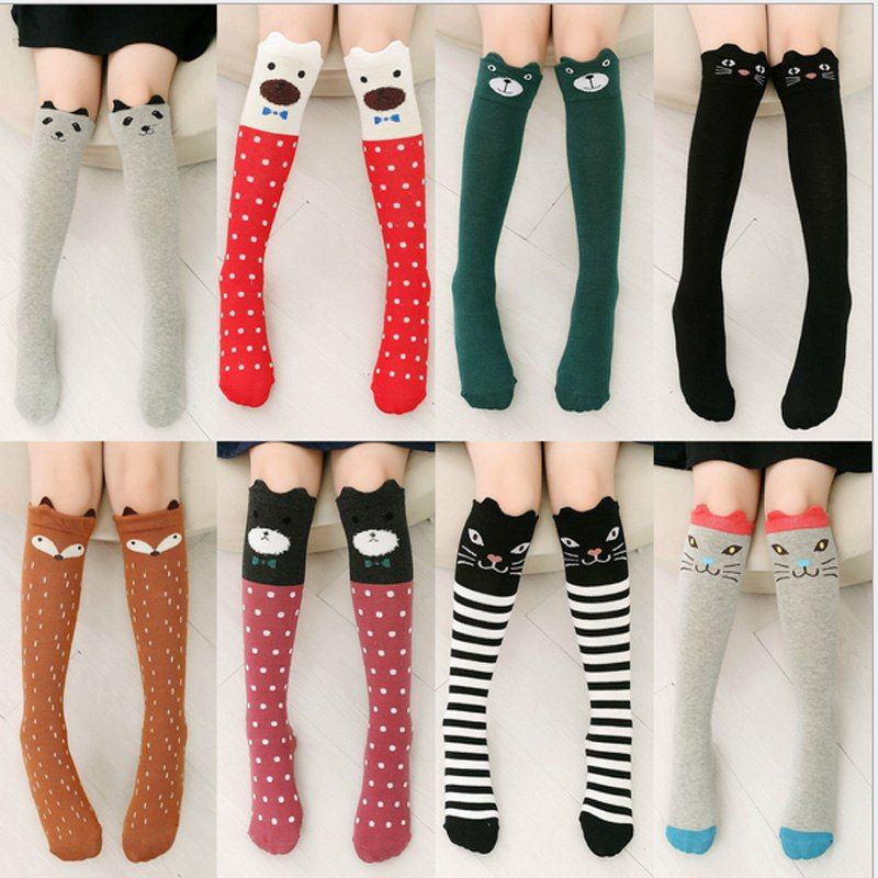 Winter Autumn Children Solid Color Socks Candy Color Kids Long Sockings Baby Toddler Cotton High Socks