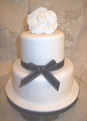 Two Tier Back White Wedding Cake With Rose By Special Day Cakes Via Flickr