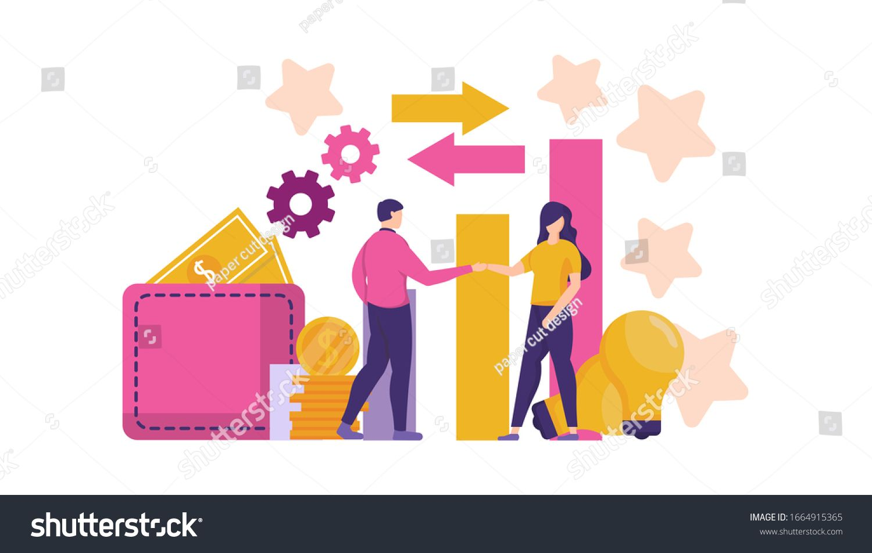 Illustration Two Businessmen Shaking Hands Concept Stock