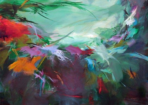 """Ute Laum, """"Fruehmorgens im Dschungel"""" Mit einem Klick auf 'Als Kunstkarte versenden' versenden Sie kostenlos dieses Werk Ihren Freunden und Bekannten."""