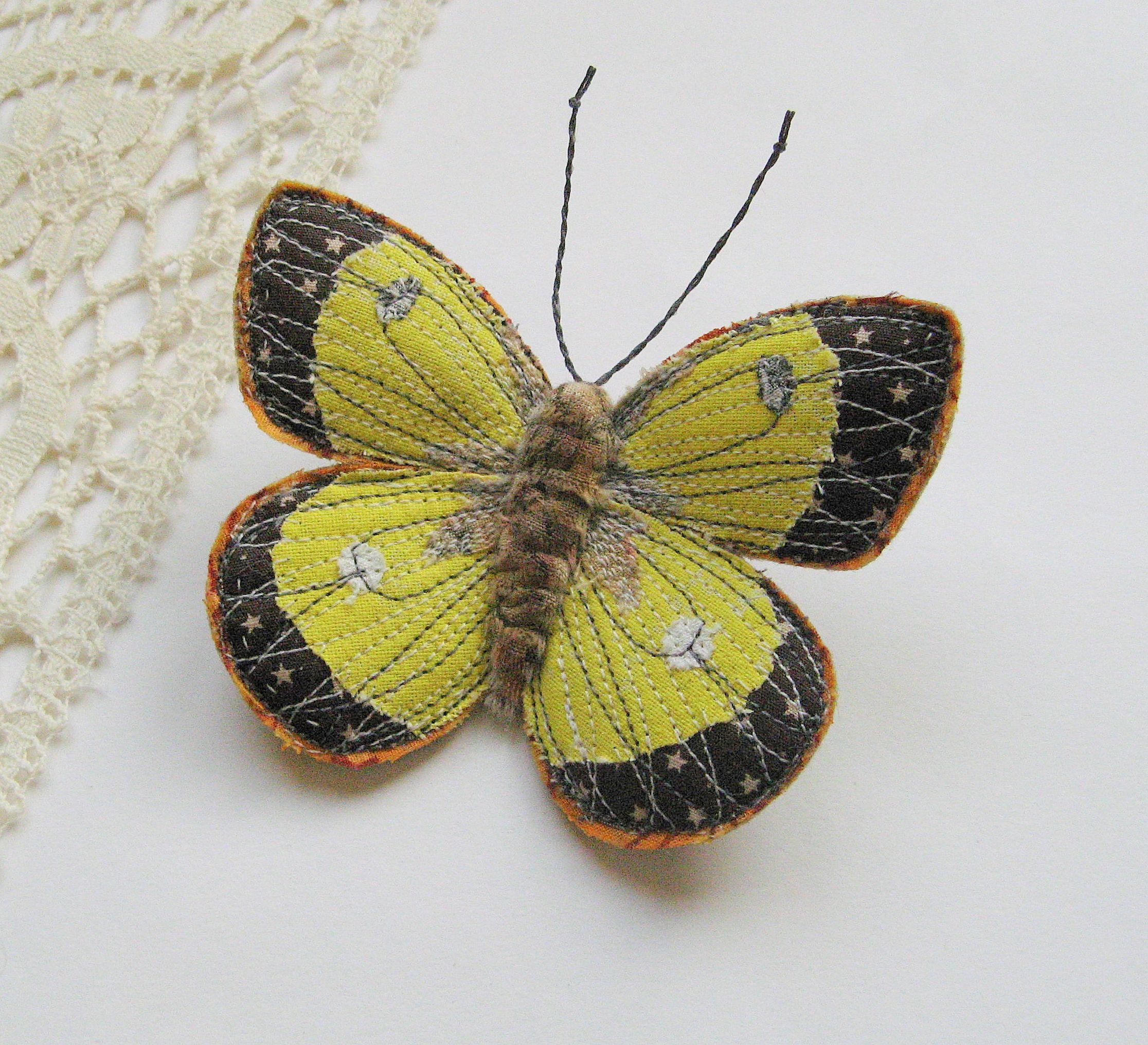 Moorland Clouded Yellow butterfly brooch.