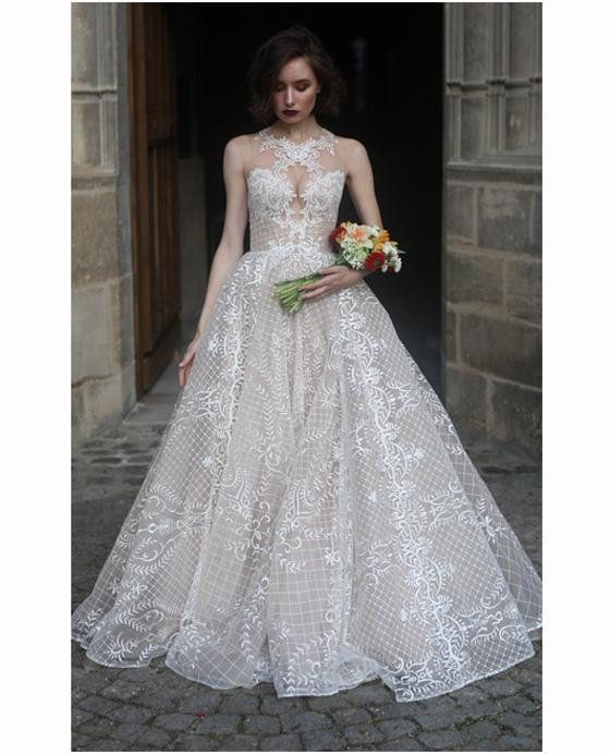 8cc4cd29d278 Princess royal lace wedding dress MARSEL with a long train by Ange Etoiles  • Princess wedding dress