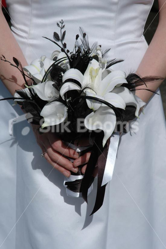 Beautiful Black White Small Bridal Bouquet w/ Lilies & Feathers #whitebridalbouquets