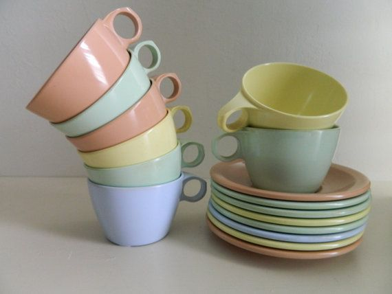 Riviera Ware Melmac Cups and Saucers Multicolor by vintagenancy ...