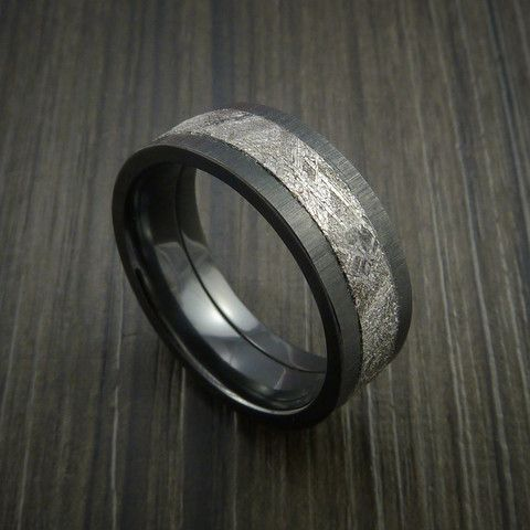 Meteorite in Black Zirconium Wedding Band Made to any Sizing and Width