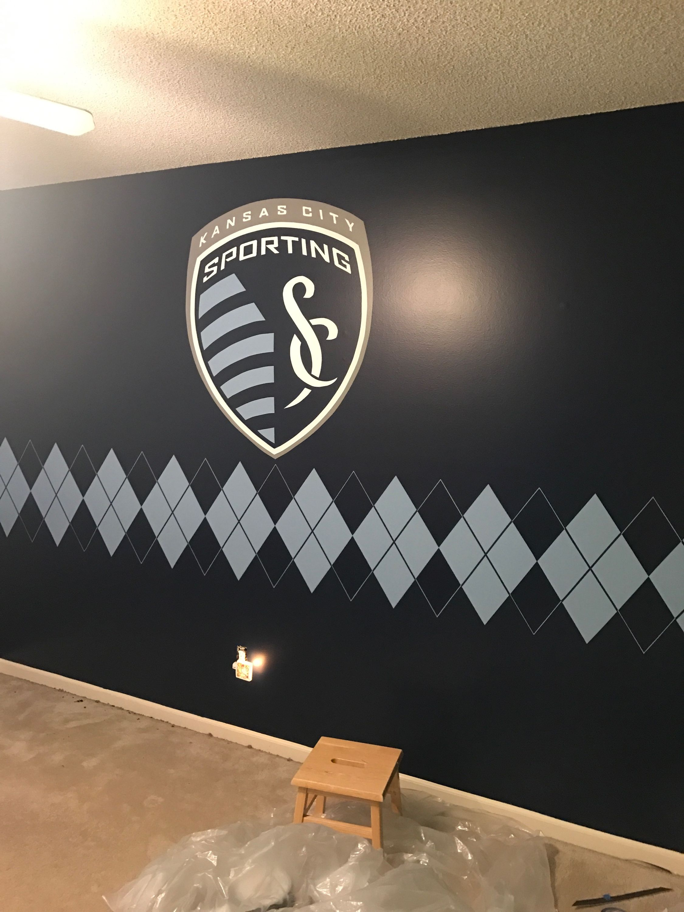 Sporting KC Soccer Logo With Matching Argyle On Bedroom Wall For - Sporting kc wall decals