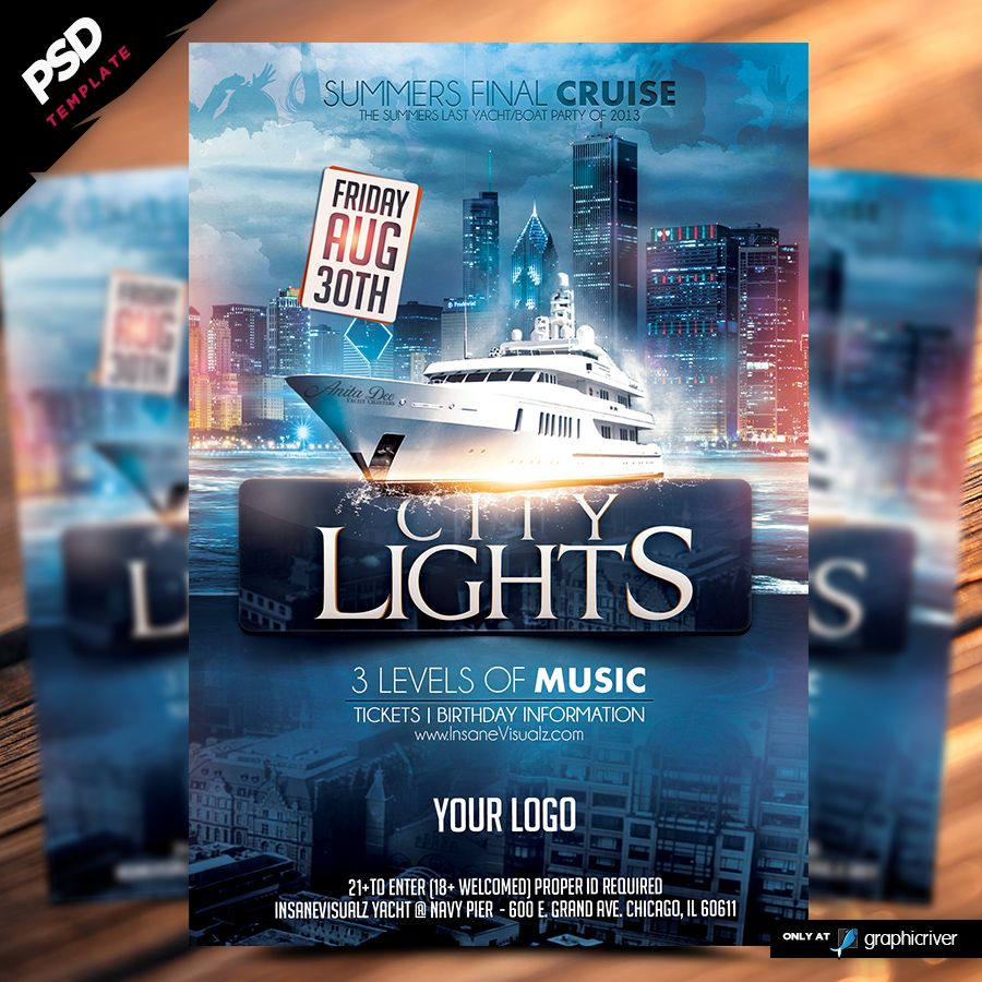 city lights boat party flyer is a premium psd flyer poster city lights boat party flyer is a premium psd flyer poster template designed by dope