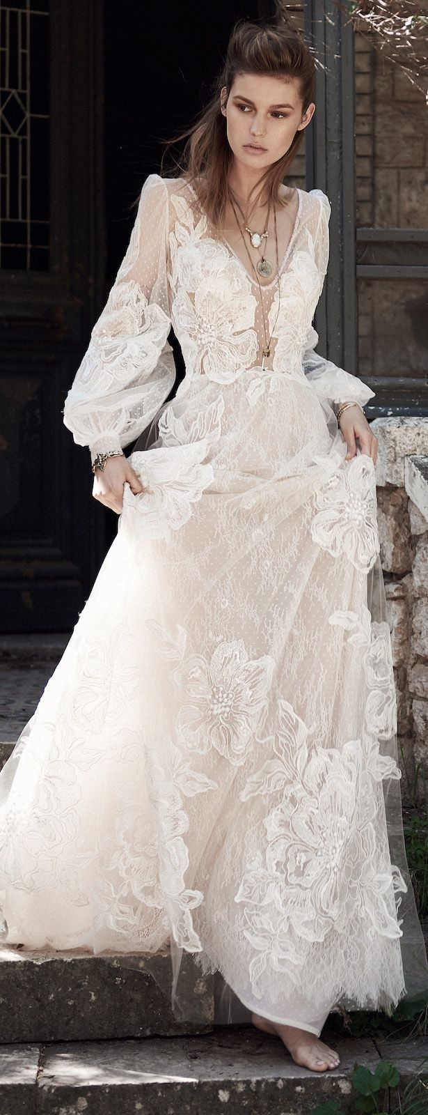 Boho wedding dress with sleeves  Bohemian Wedding Dress by Costarellos Spring  Bridal Collection
