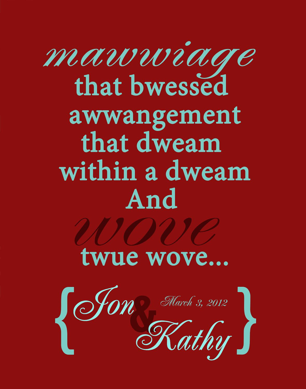 Personalizable princess bride wedding date funny quote poster ...