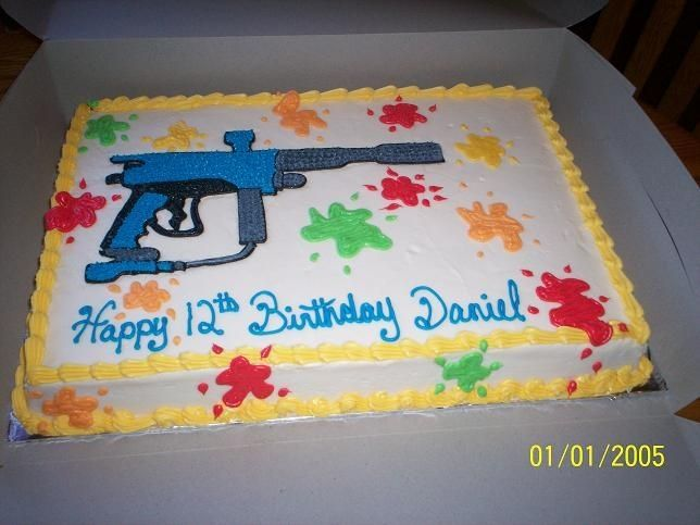 Paintball Cake Ideas Icing For My Sons 12th Birthday Today The