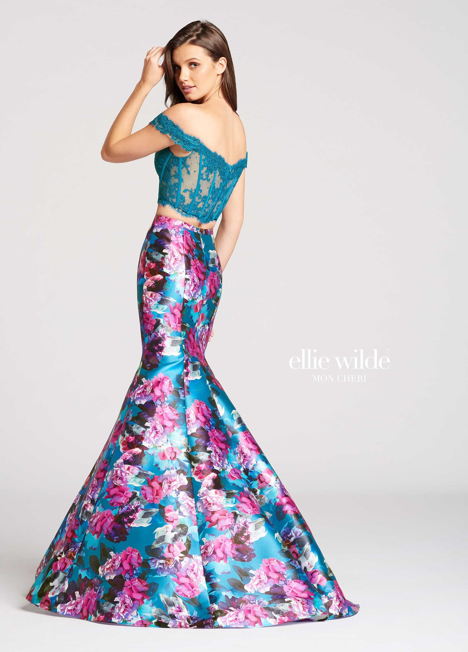 9d7d71572d3 Ellie Wilde EW118009 - Two-piece lace and printed Mikado mermaid prom dress.  Lace sweetheart top features off the shoulder cap sleeves and visible  boning.