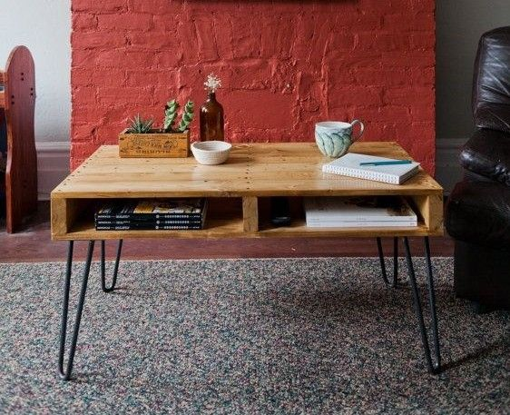mesa patas de hierro y palets - Mesas Palets
