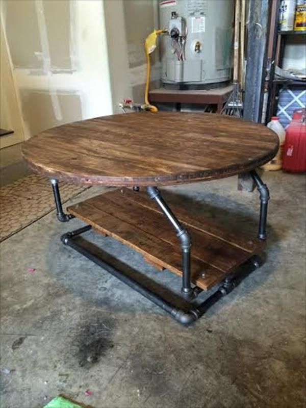 Pallet Coffee Table Diy Industrial Pipe Pallet