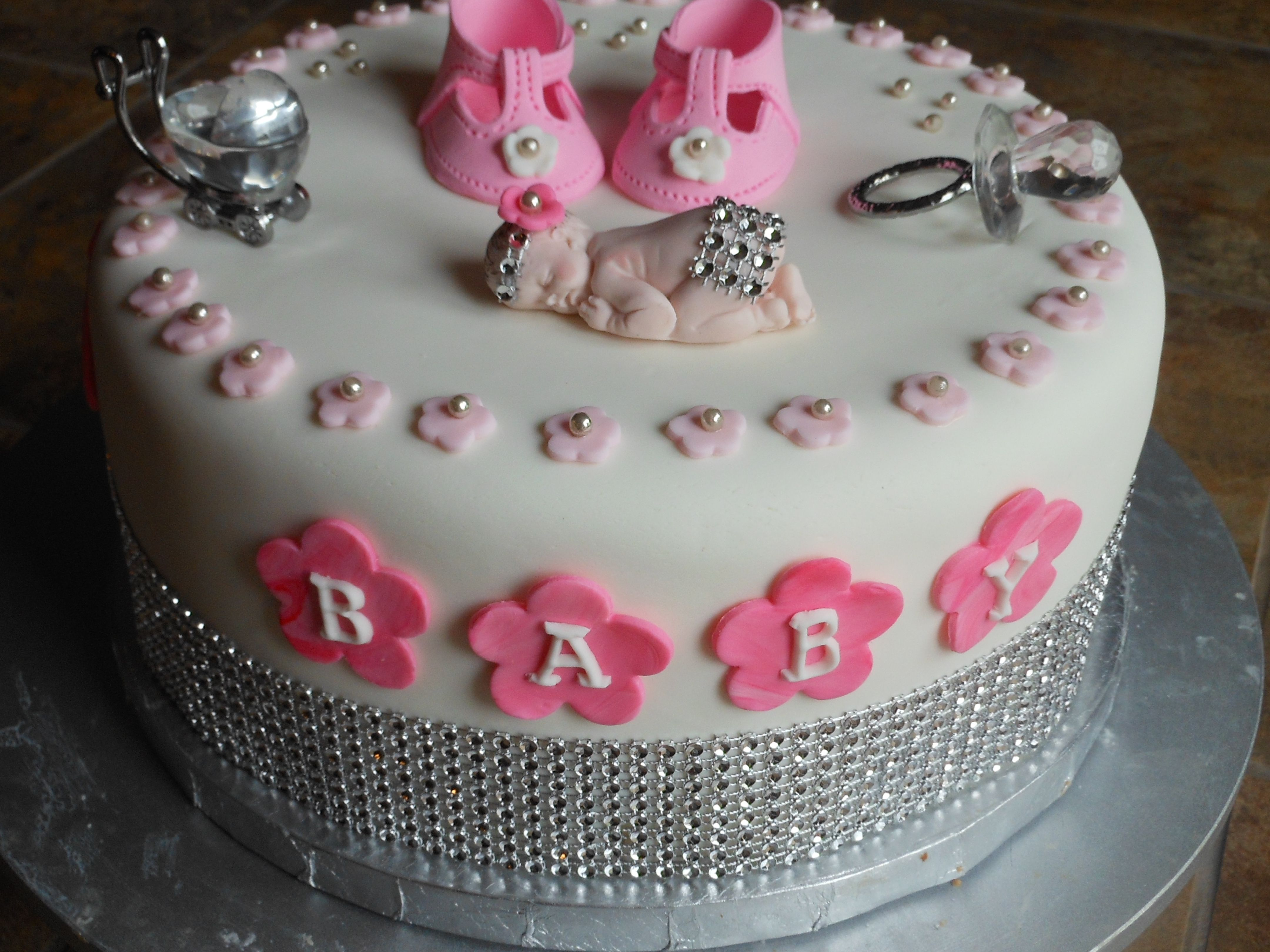Vanessas Bling Baby Girl Shower Cake This is an two layers of