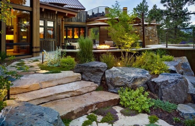 jardin-rocaille-maison-campagne-moderne-Colorado | Maisons ...
