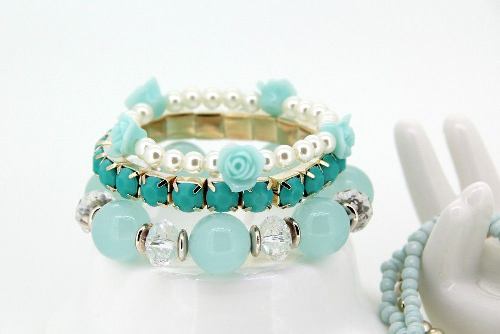 Fashion Resin Imitate Pearl Blue Rose Decor  Multilayer Elastic Bangle Bracelet for Girls Charm Jewelry