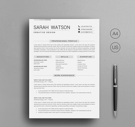 Resume Template for word, Professional Resume Template Instant - download word resume template