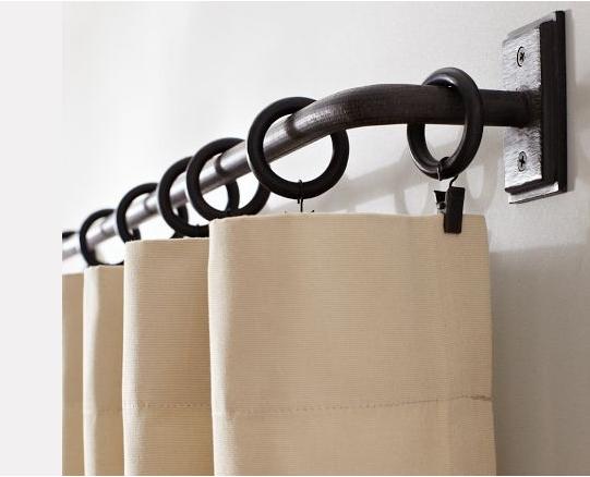 Elbow drapery rod with ringclip drapes Pottery barn