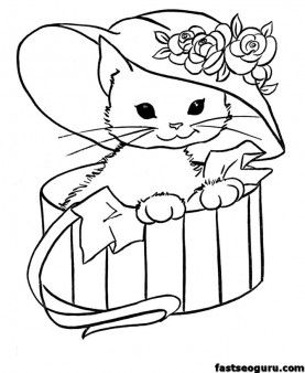 Kitty cat free printable coloring pages animals - Printable ...