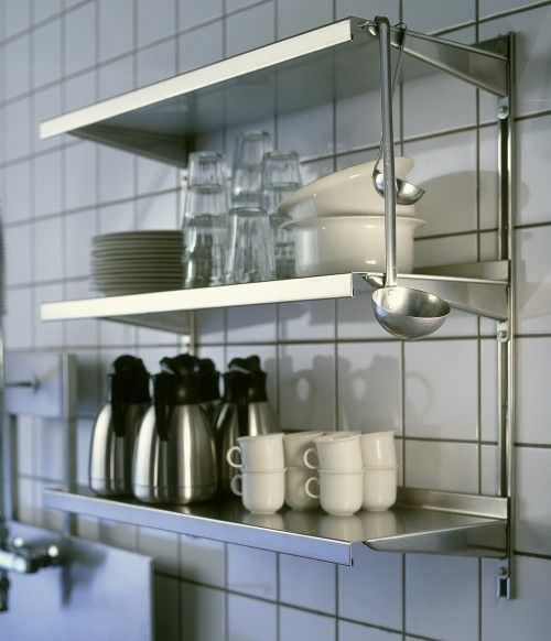 Kitchen Shelves Wall Mounted: Metal Wall Shelves Kitchen The Wall By Metal Stips