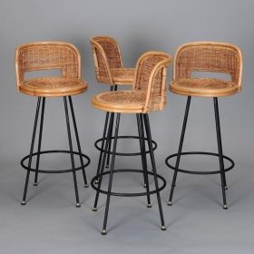 Set Of 4 Mid Century Rattan Swivel Bar Stools In Style Danny Ho Fong