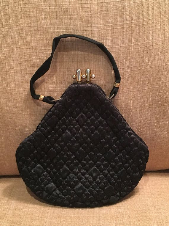 Vintage Black Quilted Fabric Purse By Jr Made In Cobbledstreets