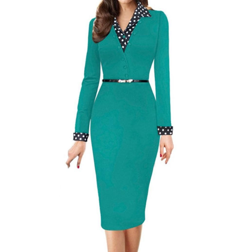 f373c2b478d Howstar Womens Business Dresses Casual Daily Office Working Dress Long  Sleeve Mini Dress Elegant Short Party Dess with Belt 2XL Green    Information can be ...
