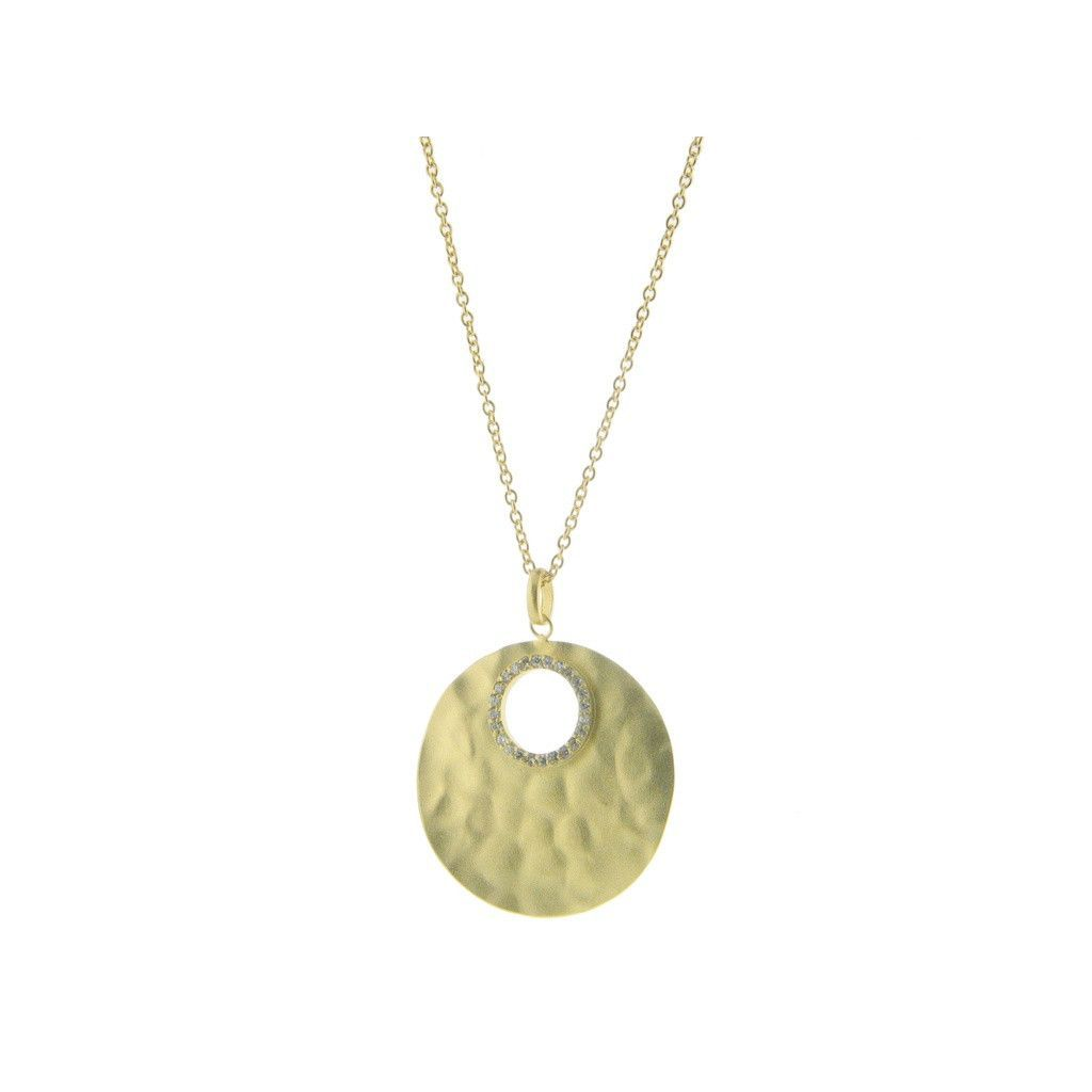 "Signature Hammered Sterling Silver Full Lunar Cubic Zirconia Gold Moon Disc Necklace by Fronay, 17""+ 2"""