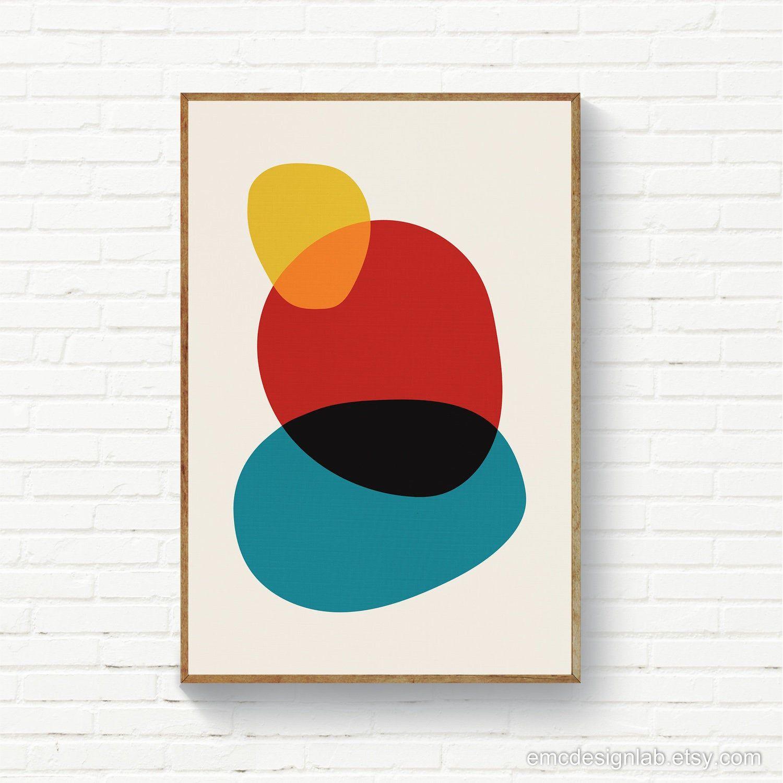 Abstract Circles Art, Blue Red Mustard Printable Wall Art ...