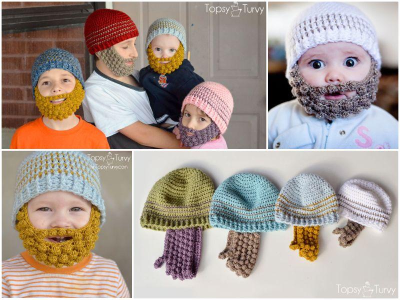 Bobble Beard Crochet Hat Pattern Easy Video Instructions | Tejido ...