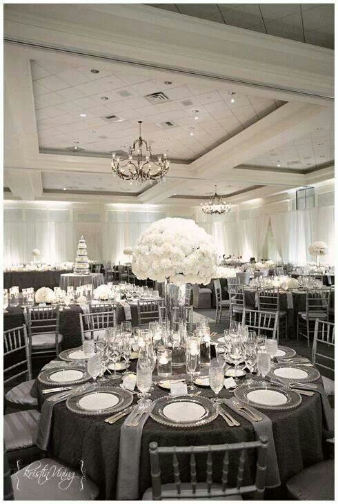 Black and silver wedding decor images