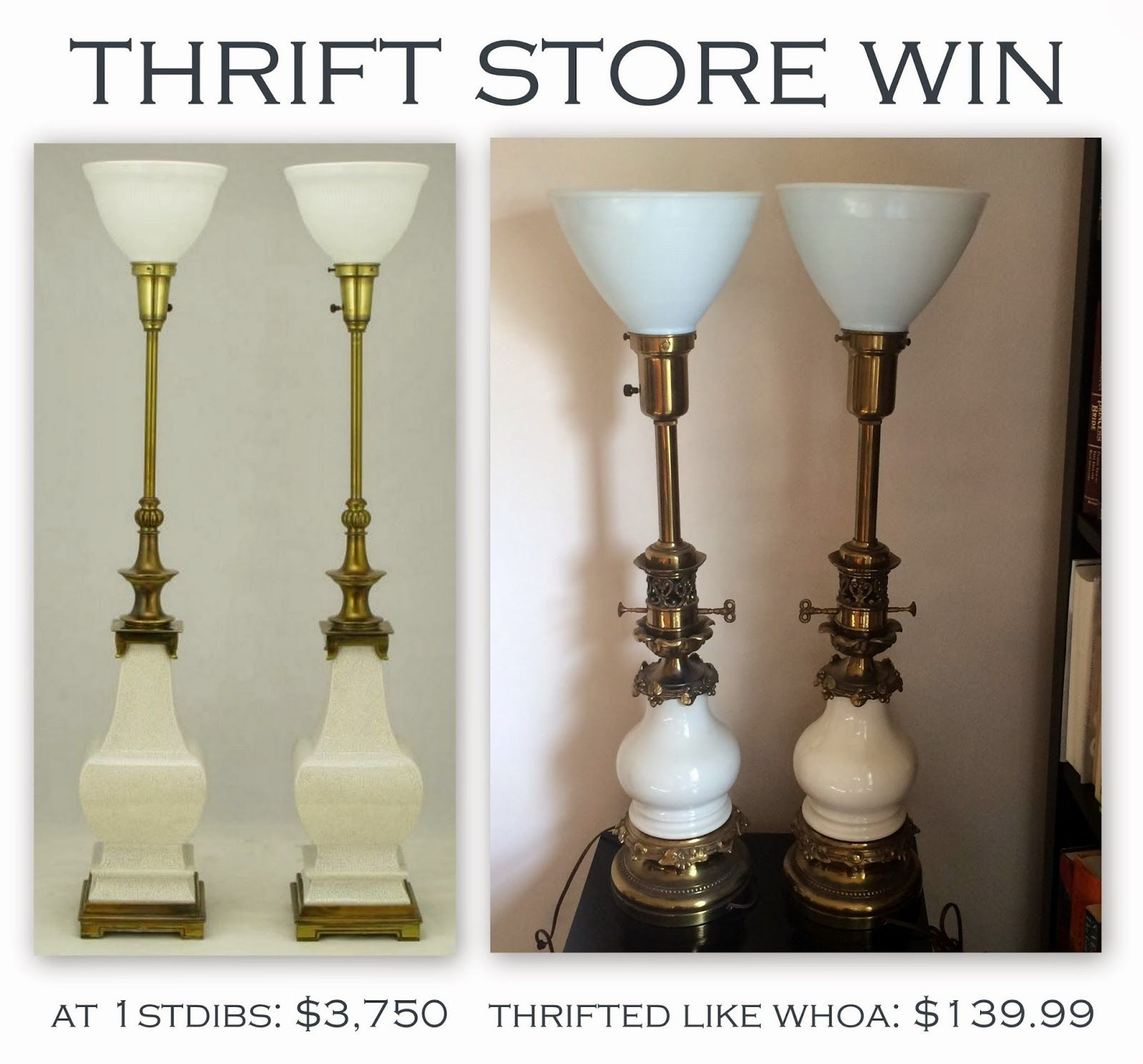 Vintage stiffel brass table lamps - Librarian Tells All Thrift Store Win Vintage Stiffel Lamps And A Wor