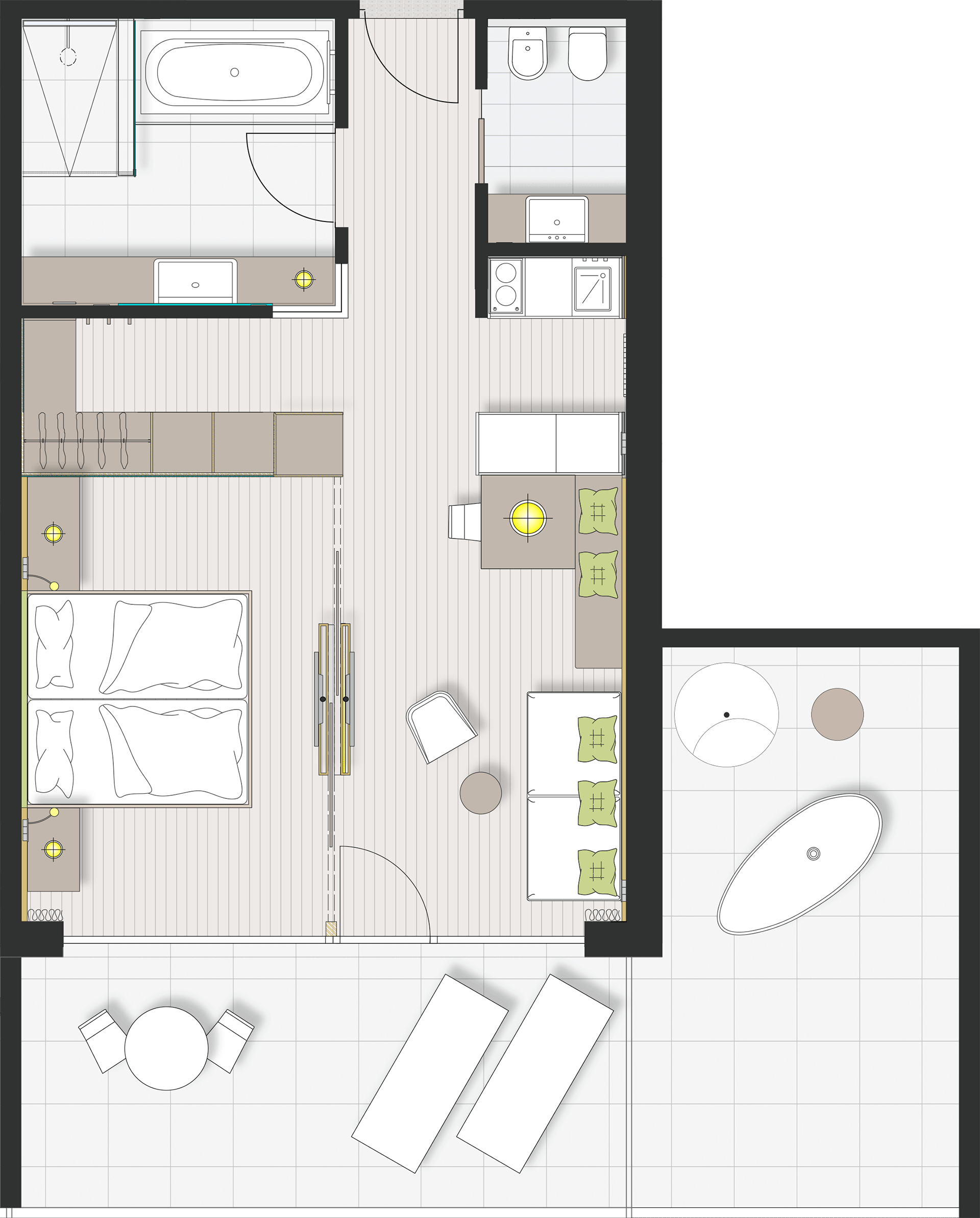 Hotel Vinea Sky Suite West Side 50sqm 30sqm Terrace Hotel Room Design Hotel Room Design Plan Apartment Floor Plans