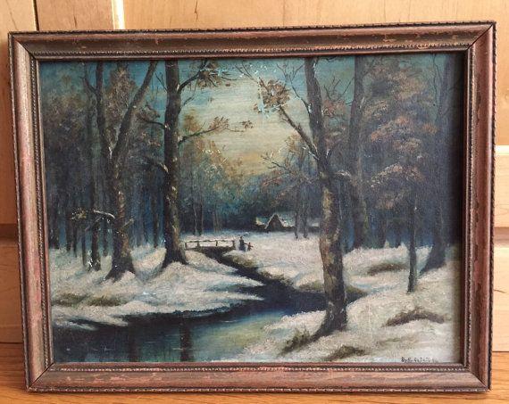 Original Victorian Oil Painting Rustic Winter Scene On