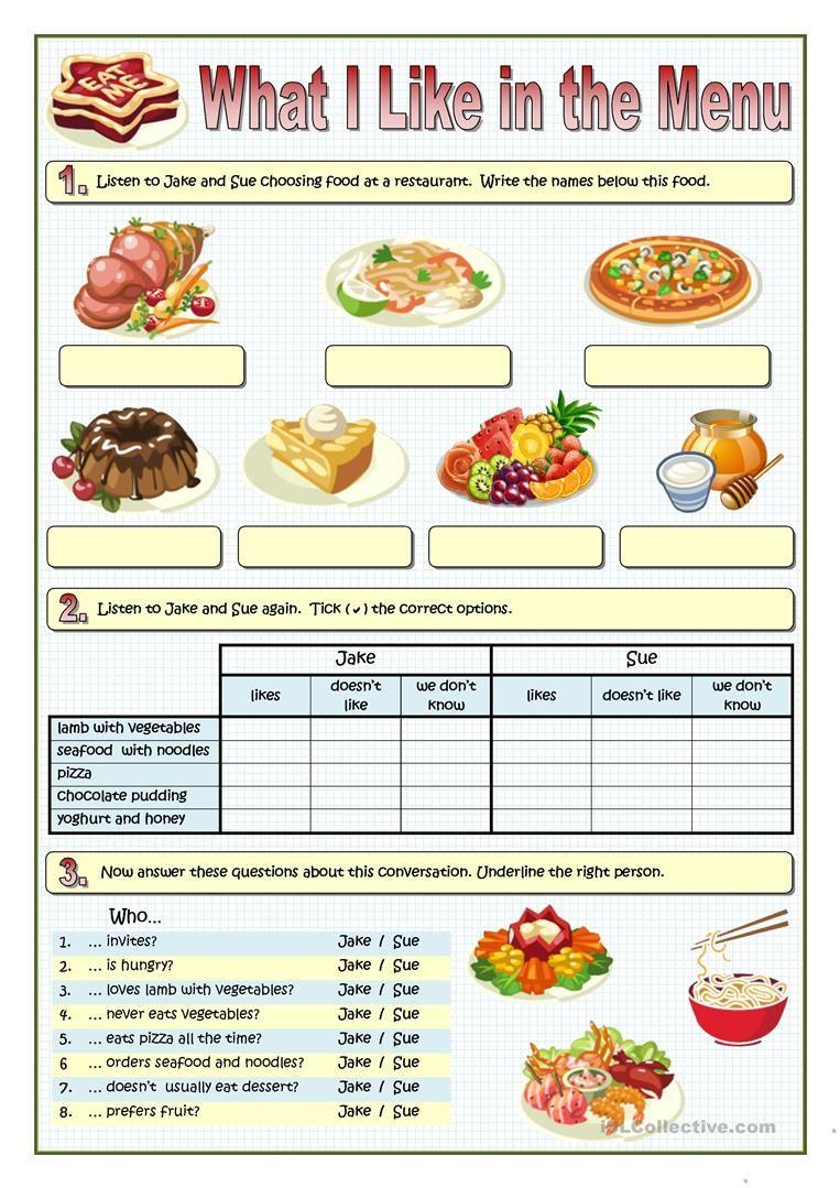What I Like In The Menu Worksheet Free Esl Printable Worksheets Made By Teachers Food Chosen Foods Food Projects [ 1079 x 763 Pixel ]
