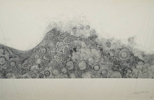 """Hiroyuki Doi, untitled, 25""""h x 39""""w. This is a drawing of circles in different sizes. What looks like shades of grey is created by the size and density of the circles."""