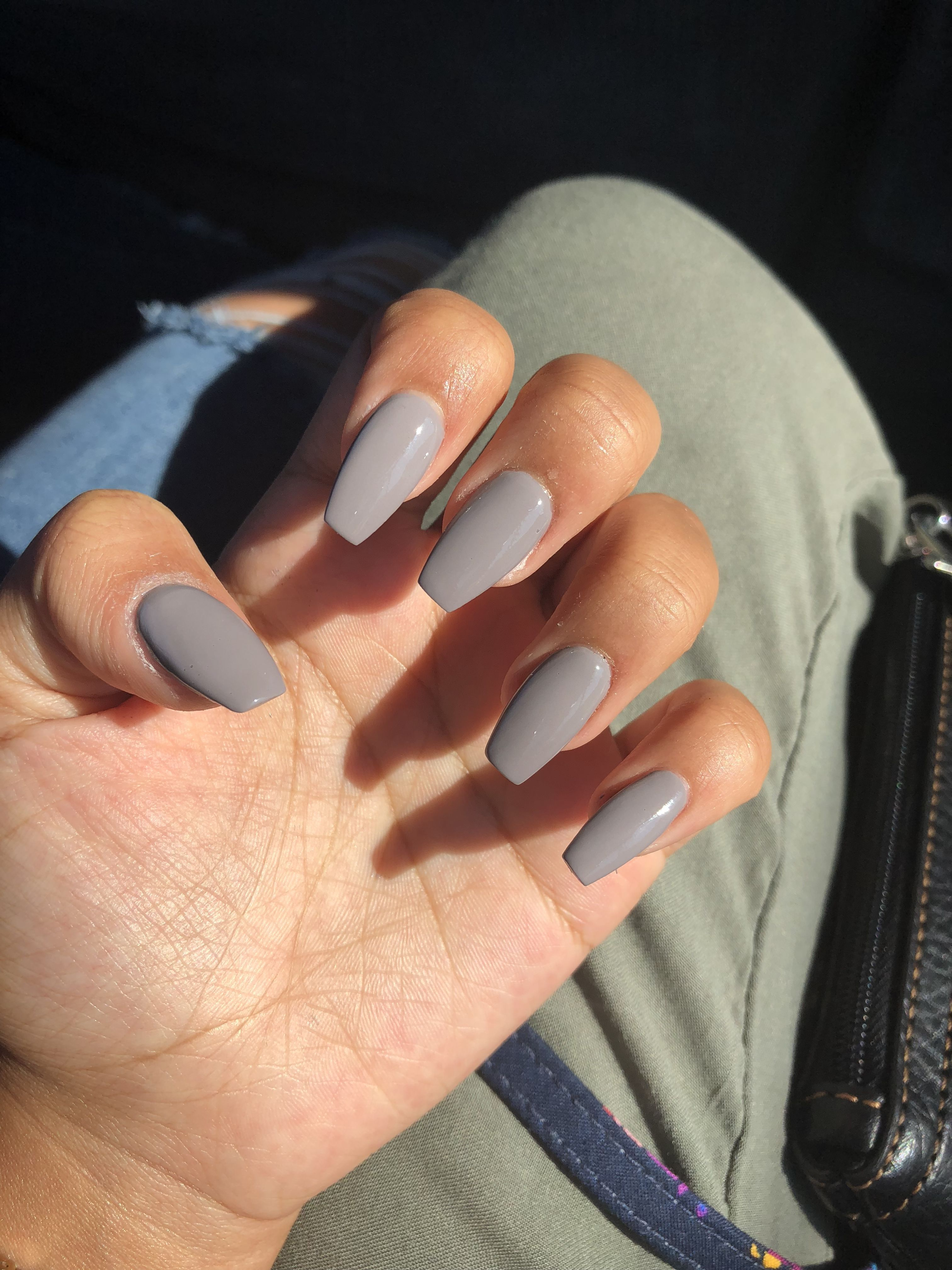 Grey , short , coffin AcrylicNailsCoffin