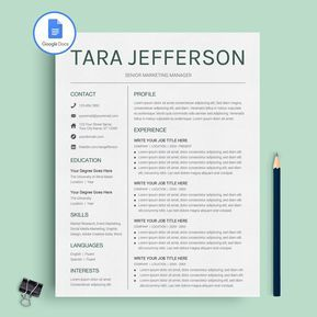 Resume Template Google Tara Jefferson  Google Docs Resume Template  Cv Template  Cv .