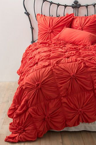 Anthropologie Rosette Quilt Twin Size Bright Red By Lazybones | EBay
