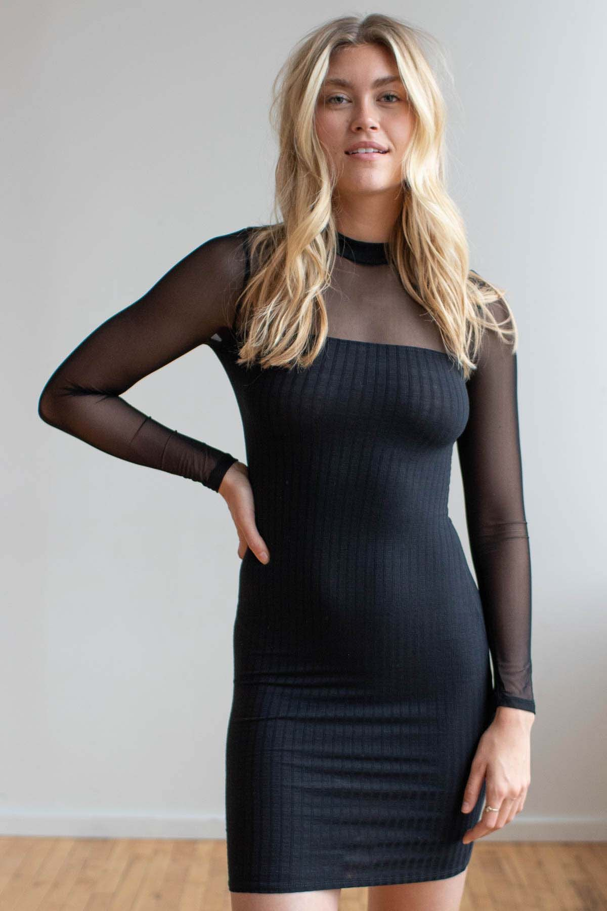 Mock Neck Contrast Mesh Ribbed Dress Ragstock Ribbed Dresses Dresses Fashion [ 1800 x 1200 Pixel ]